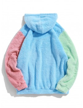 Color-blocking Splicing Fuzzy Pullover Hoodie - Light Sky Blue L