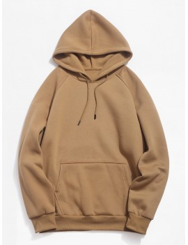 Basic Solid Pouch Pocket Fleece Hoodie - Camel Brown M