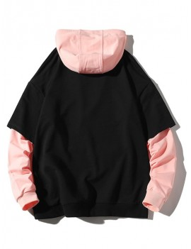 Chinese Embroidery Colorblock Faux Twinset Drawstring Hoodie - Black L