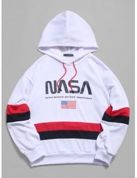 Fseason Men Contrast Color Long Sleeve American flag Pullover Hoodie