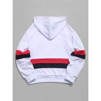 American Flag Color Blocking Letter Print Hoodie - White M