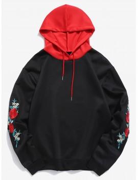 Flower Embroidery Applique Sleeve Drawstring Hoodie - Black L