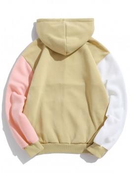 Casual Color Spliced Long Sleeves Pocket Hoodie - Light Khaki M