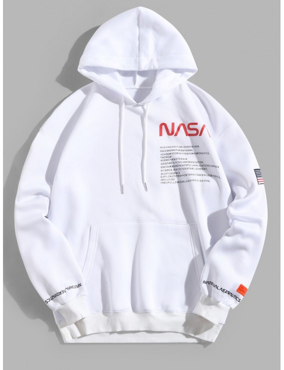 American Flag Patched Drawstring Pocket Hoodie - White L