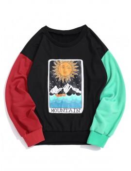 Cartoon Sun Mountain Graphic Color Block Splicing Sweatshirt - Black M