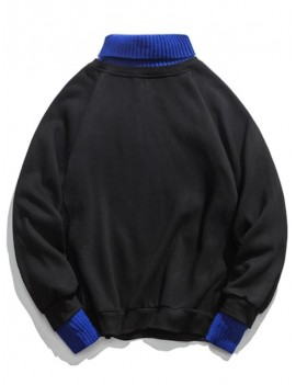 2 In 1 Turtleneck Long Sleeve Fleece Sweatshirt - Black M