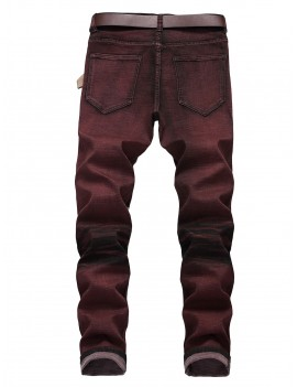 Destroy Wash Painting Print Long Straight Casual Jeans - Firebrick 34