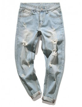 Destroy Wash Faded Scratch Long Straight Casual Jeans - Baby Blue 32