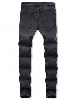 Destroy Wash Long Straight Ripped Denim Pants - Black 32