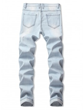 Destroy Wash Pleated Patchwork Long Straight Jeans - Jeans Blue 34