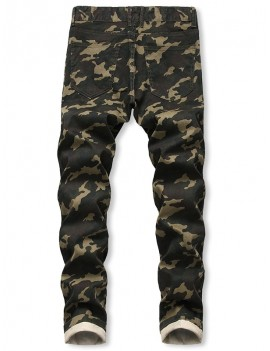 Camo Pattern Zipper Fly Casual Jeans - Army Green 36