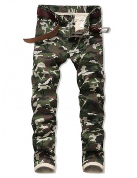 Camo Pattern Zipper Fly Casual Cuffed Jeans - Army Green 36