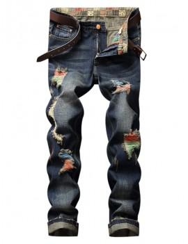 Colorful Destroy Wash Scratch Long Casual Jeans - Denim Dark Blue 34