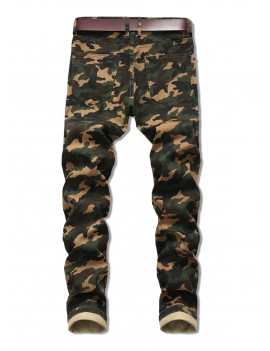 Camo Print Zip Fly Casual Jeans - Army Green 34