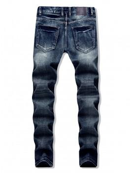 Destroy Wash Scratch Long Straight Jeans - Jeans Blue 32