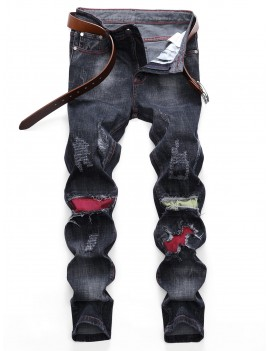 Colored Patchwork Ripped Scratch Long Straight Jeans - Black 32