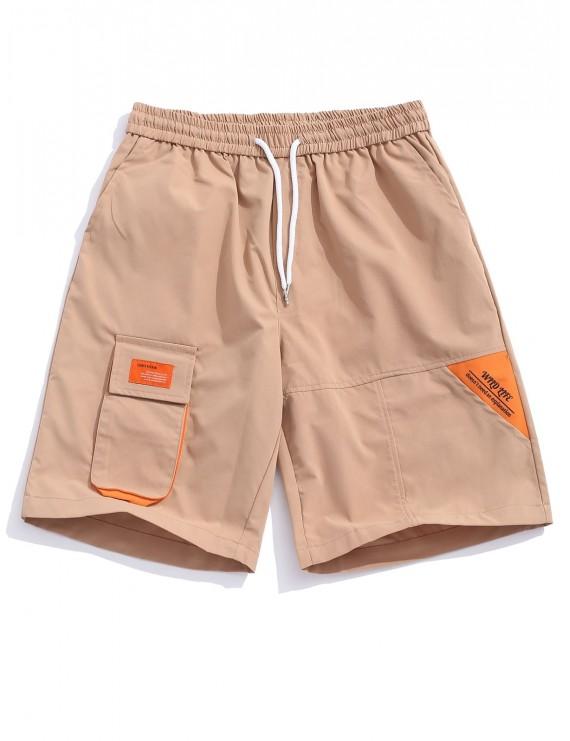 Applique Flap Pocket Color Block Spliced Shorts - Camel Brown Xs
