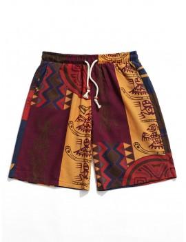 Allover Tribal Print Drawstring Board Shorts - Multi L