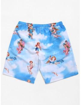 Angel Blue Sky Cloud Print Casual Beach Shorts - Multi M