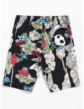 Animal Flower Music Print Drawstring Shorts - Multi Xs