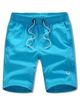 Appliques Solid Color Drawstring Beach Shorts - Blue M