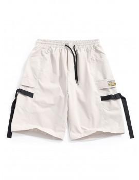 Buckle Strap Applique Multi-pocket Casual Shorts - Light Khaki S