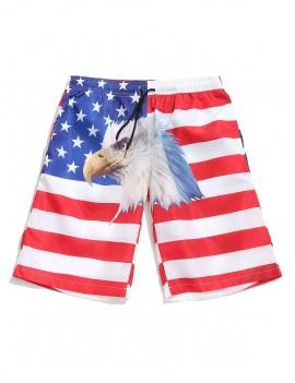 American Flag Eagle Print Drawstring Board Shorts - White L