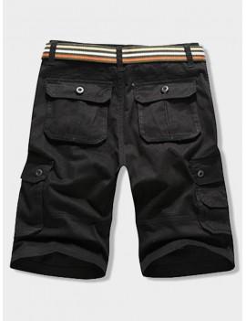 Button Flap Pocket Solid Color Zipper Fly Shorts - Black 32