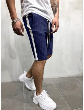 Color Block Stripes Print Drawstring Shorts - Cadetblue M