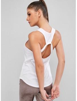 Cut Out Plain Gym Tank Top - White L