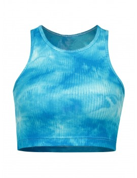 Racerback Tie Dye Crop Ribbed Tank Top - Deep Sky Blue M