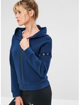 Eyelet Zipper Drop Shoulder Jacket - Cadetblue S