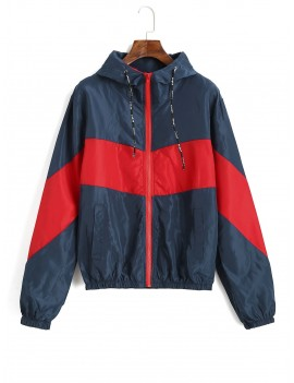 Color Block Hooded Pocket Windbreaker Jacket - Multi L