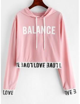 Balance Graphic Pullover Stretchy Hem Hoodie - Deep Peach S