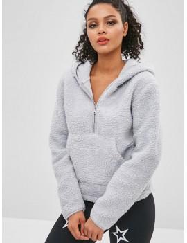 Faux Fur Zipper Kangaroo Pocket Hoodie - Light Gray L