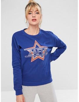 Star Drop Shoulder Sweatshirt - Blue L