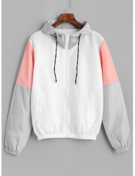 Color Block Sport Drawstring Hooded Windbreaker Jacket - Multi S