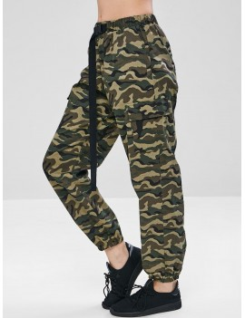 Camouflage Pocket Jogger Pants - Woodland Camouflage L