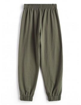 Drawstring Jogger Pants - Camouflage Green L