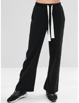 Contrast Drawstring Athletic Sweatpants - Black M