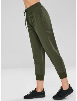 Drawstring Pocket Sport Pants - Army Green S