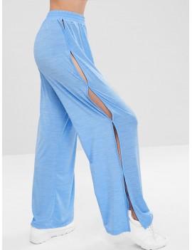 Slit Wide Leg Sports Pants - Butterfly Blue S