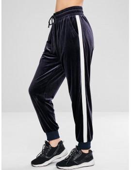 Color Block Velvet Jogger Pants - Blue Gray M