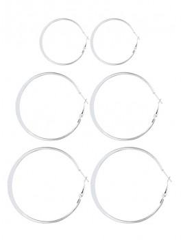 3 Pairs Alloy Hoop Earrings Set - Silver