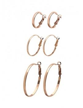 3Pairs Circle Glossy Hoop Earrings Set - Gold