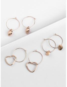 3Pairs Valentine Heart Shape Hoop Earrings Set - Gold