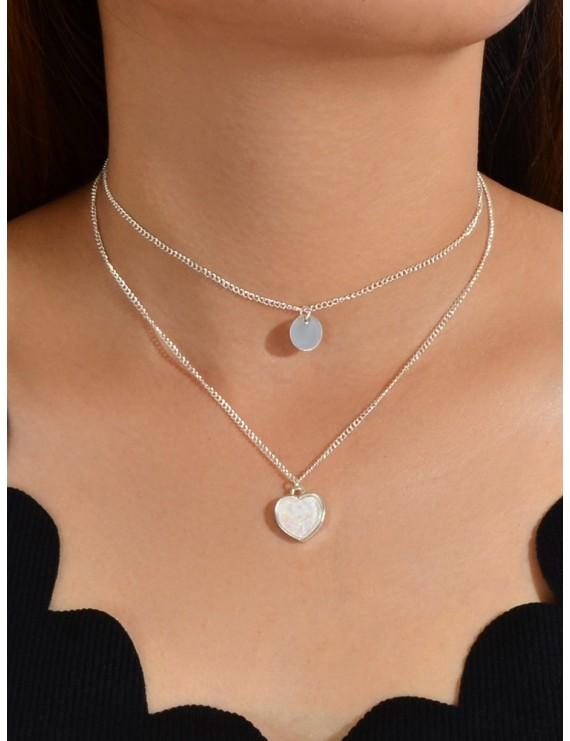 2Pcs Round Heart Pendant Necklace Set - Silver