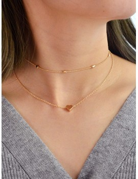 2Pcs Heart Collarbone Necklace Set - Gold