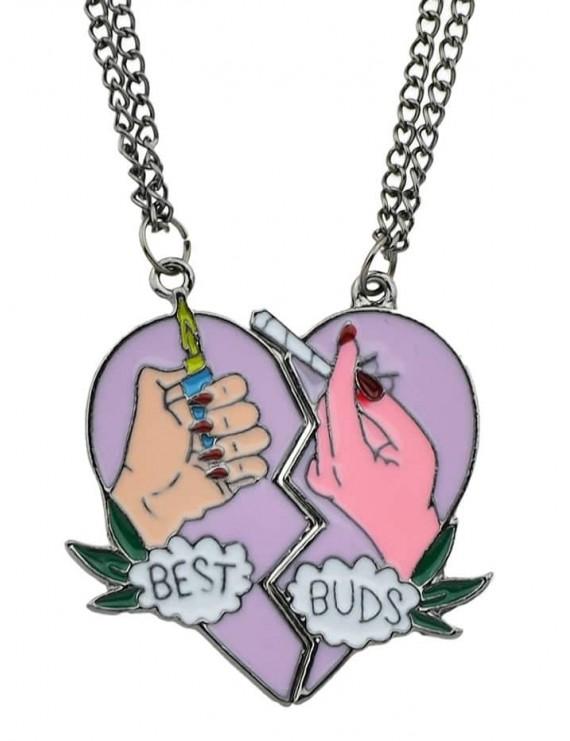 2Pcs Heart Shape Friendship Necklace Set - Multi