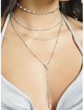 2Pcs Rhinestone Chain Layered Necklace Set - Silver